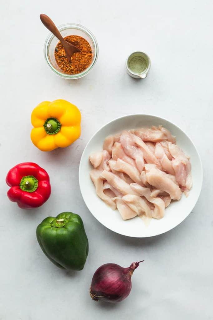 Ingredients needed to make chicken fajitas