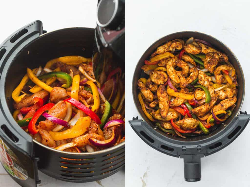 Steps how to make chicken fajitas in the air fryer