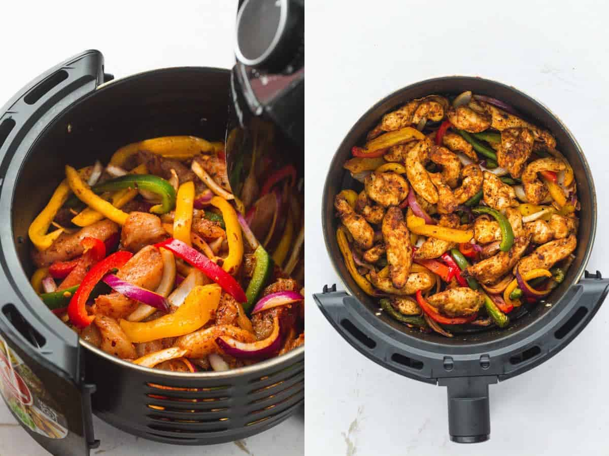 Steps how to make chicken fajitas in the air fryer.