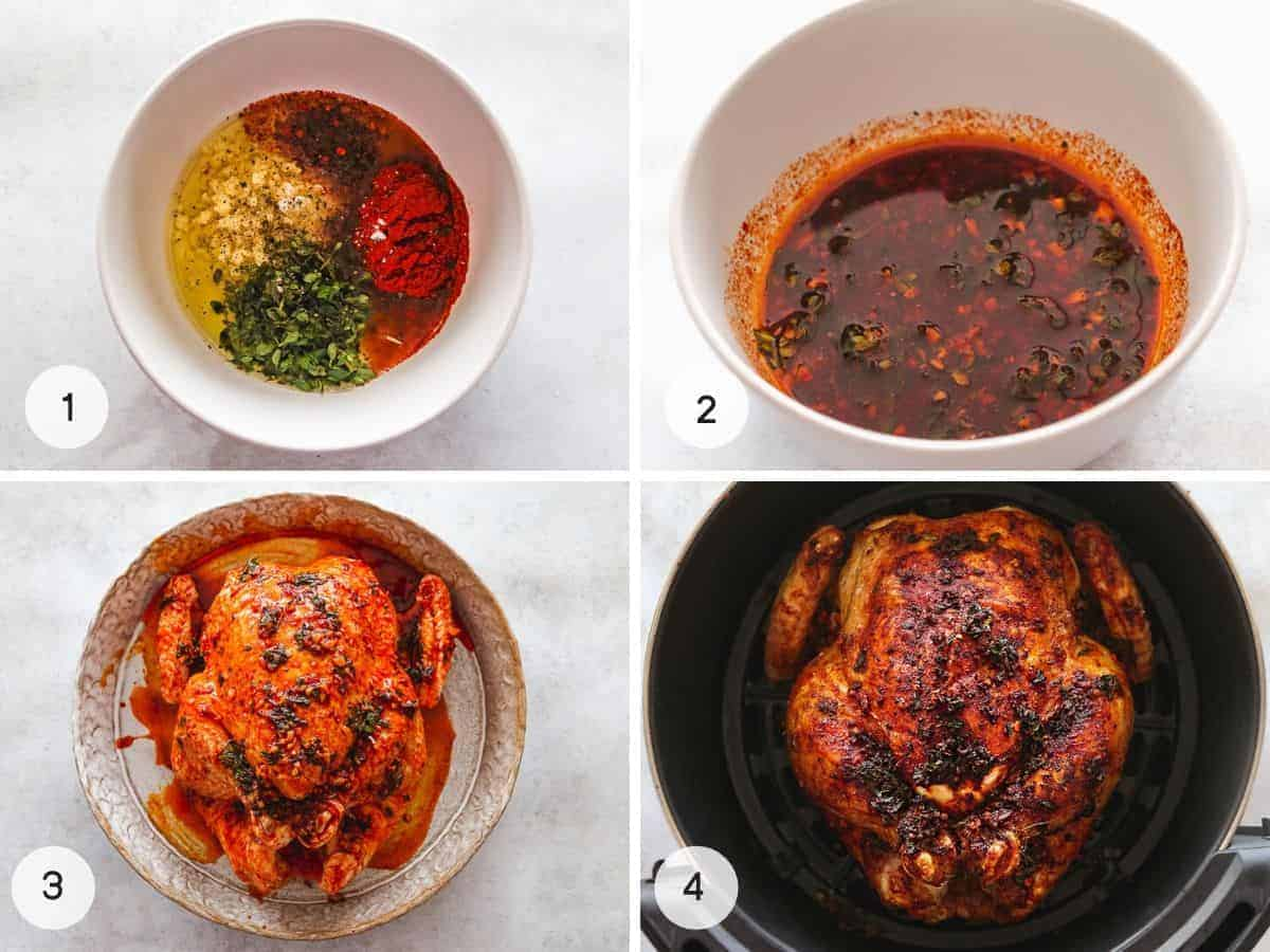 Steps on how to make Air Fryer whole chicken