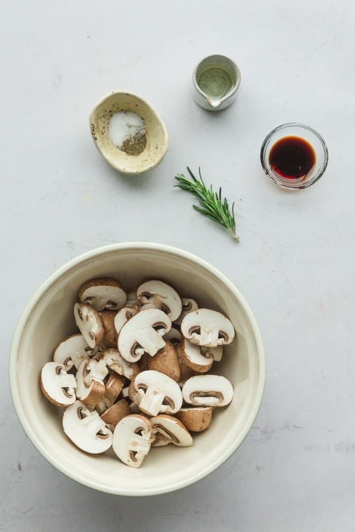 Ingredients needed to make air fried mushrooms.