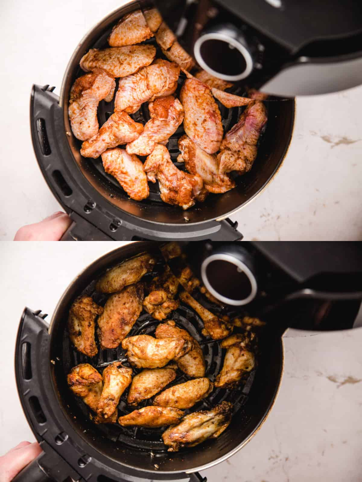 Two photos of the chicken wings in the air fryer basket before and after cooking.