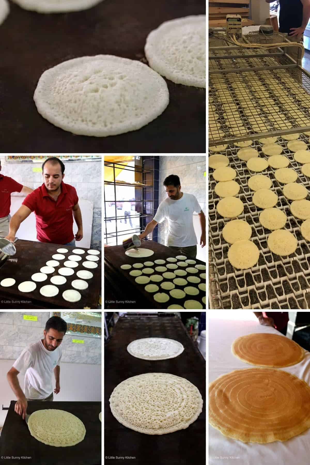 A collage with 7 images on how Atayef are made in Madaba, Jordan.