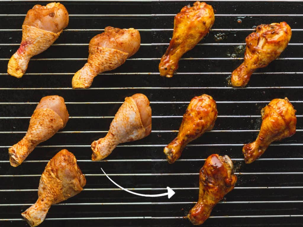 How to bake BBQ drumsticks, before and after baking