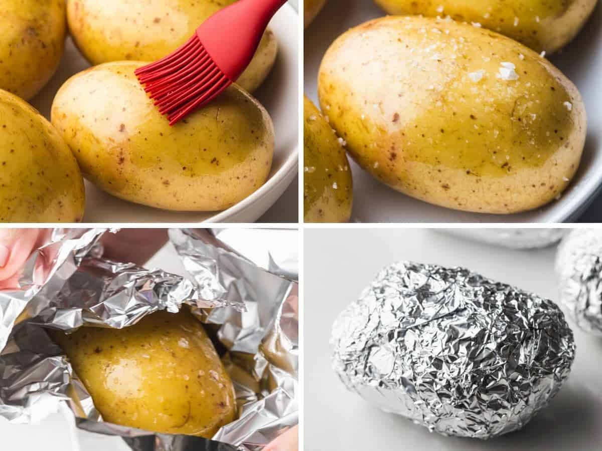 A collage with 4 images on how to brush the potatoes with oil, season them, and wrap them in foil