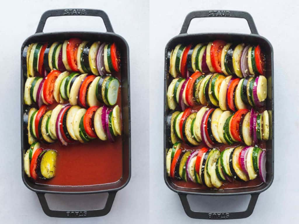 Steps on how to arrange vegetables for Briam in a baking dish