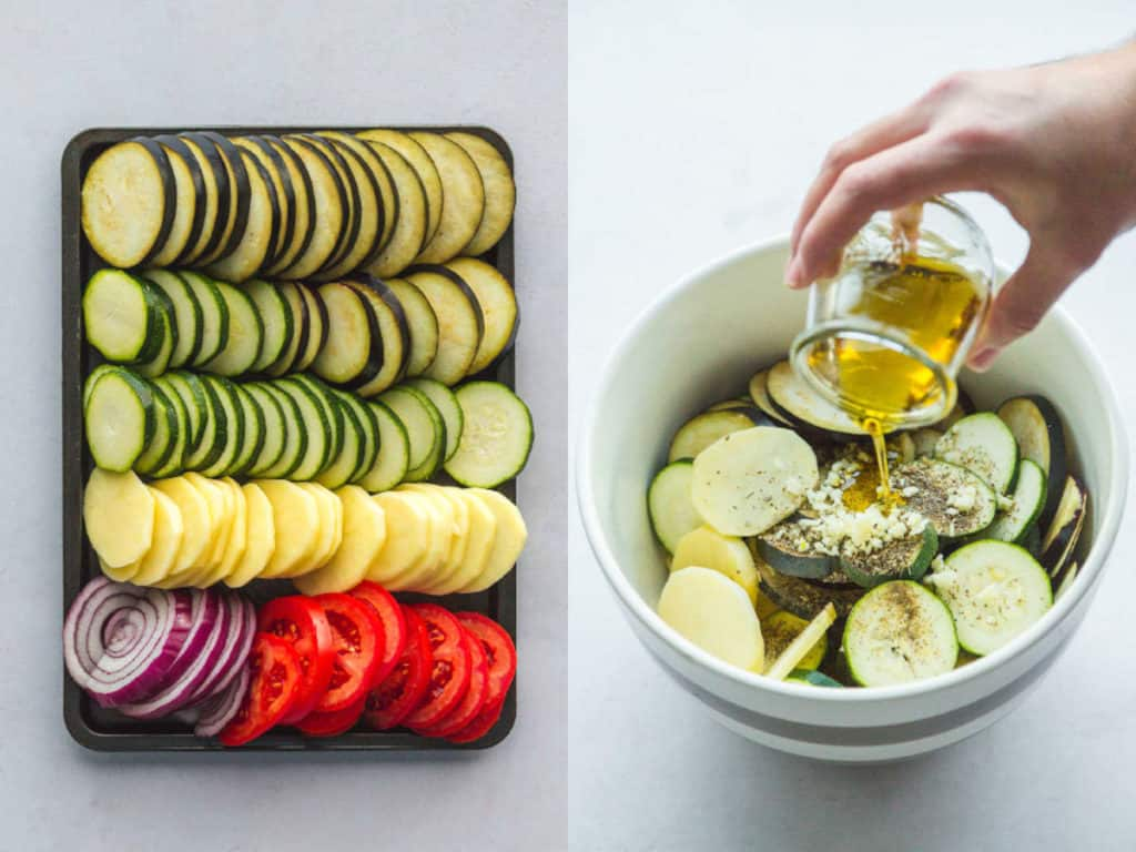 Steps on how to slice the vegetables, and how to coat them with olive oil and seasonings