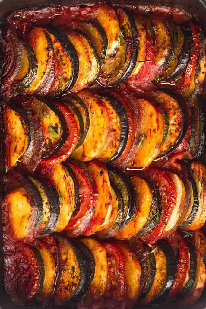 Roasted Greek vegetables in a baking dish