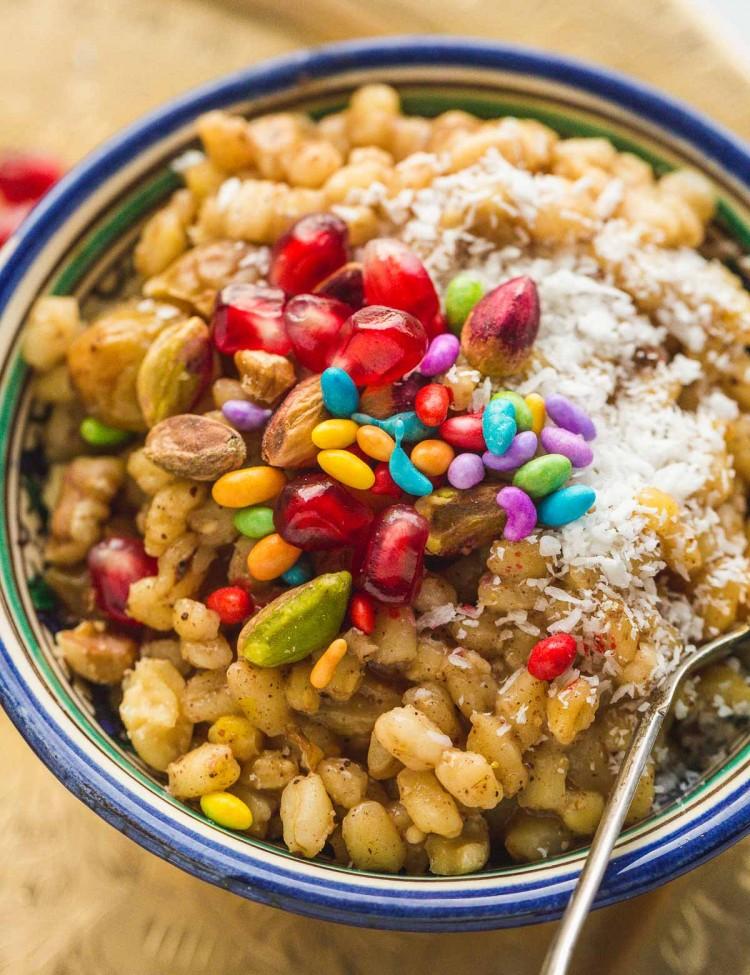 Burbara Wheat berry dessert, close up image.