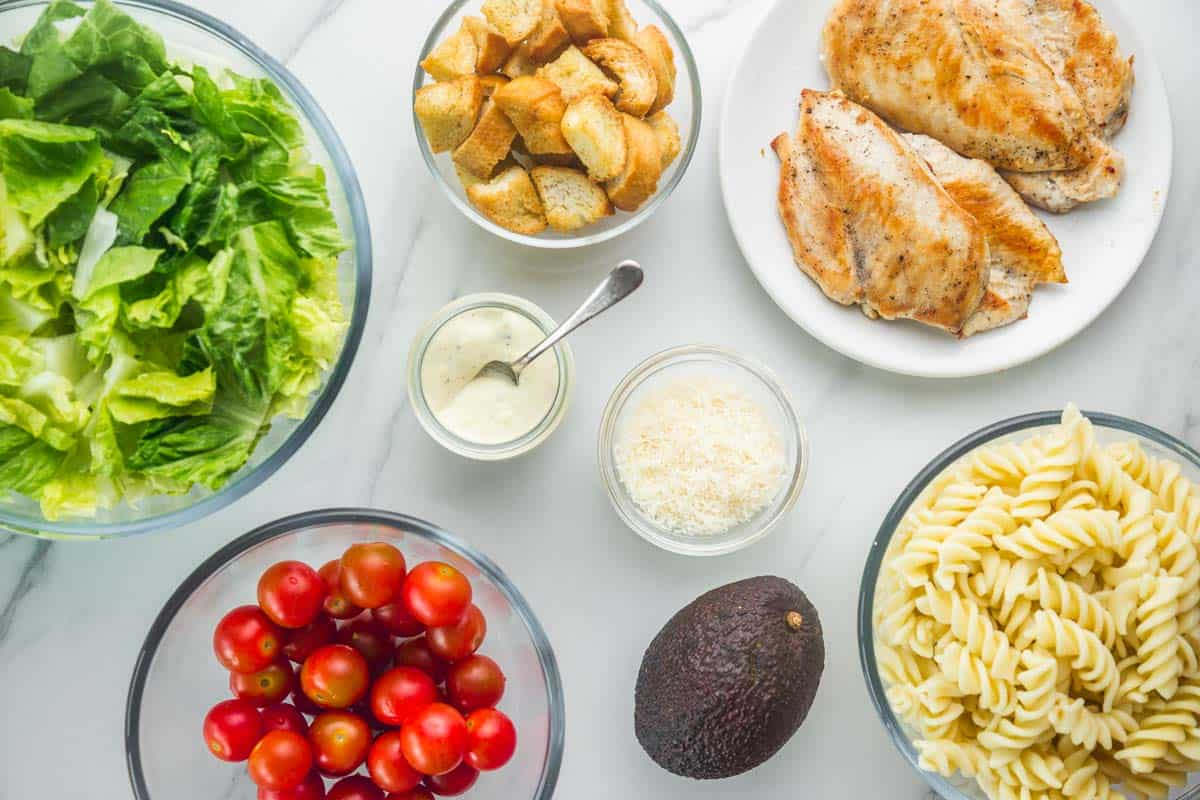 The ingredients for caesar pasta salad