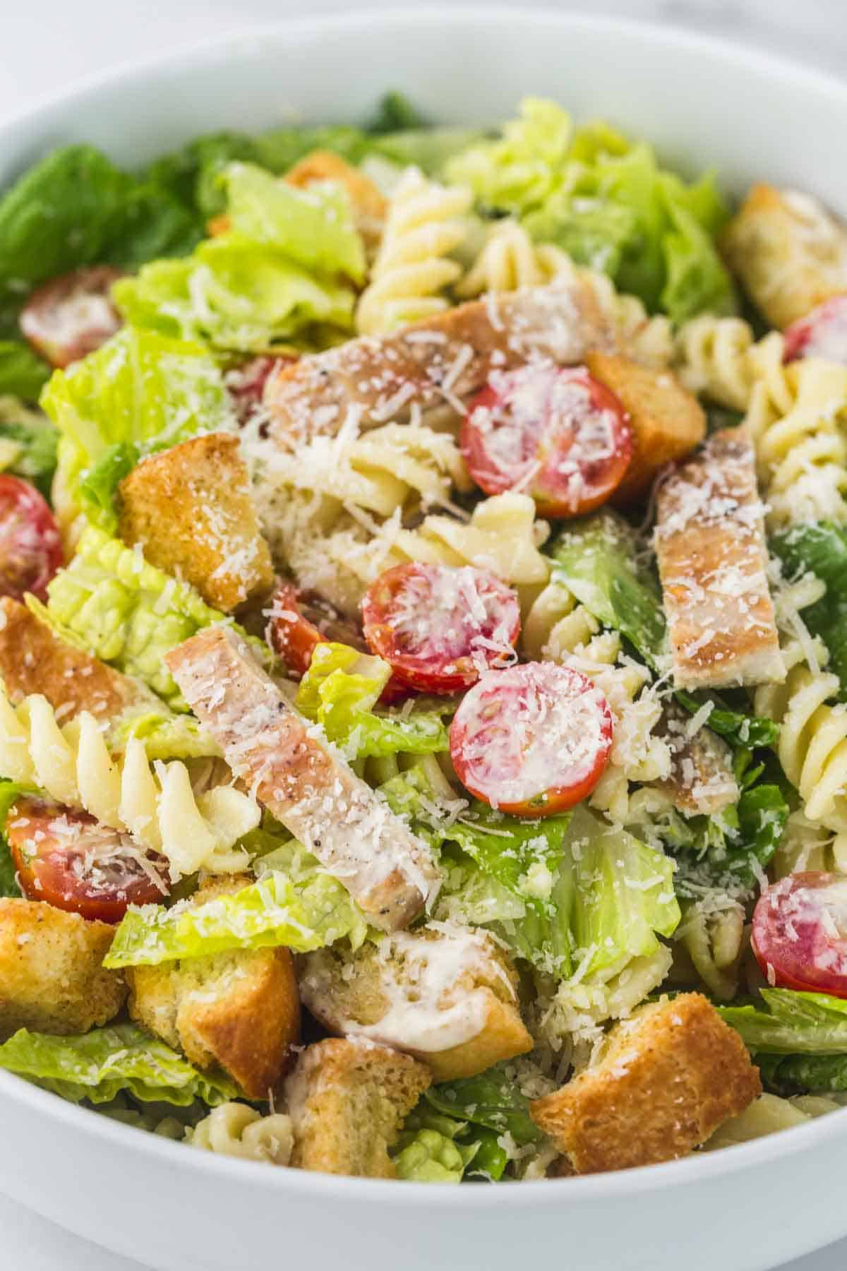 Tossed Caesar pasta salad in a large white bowl