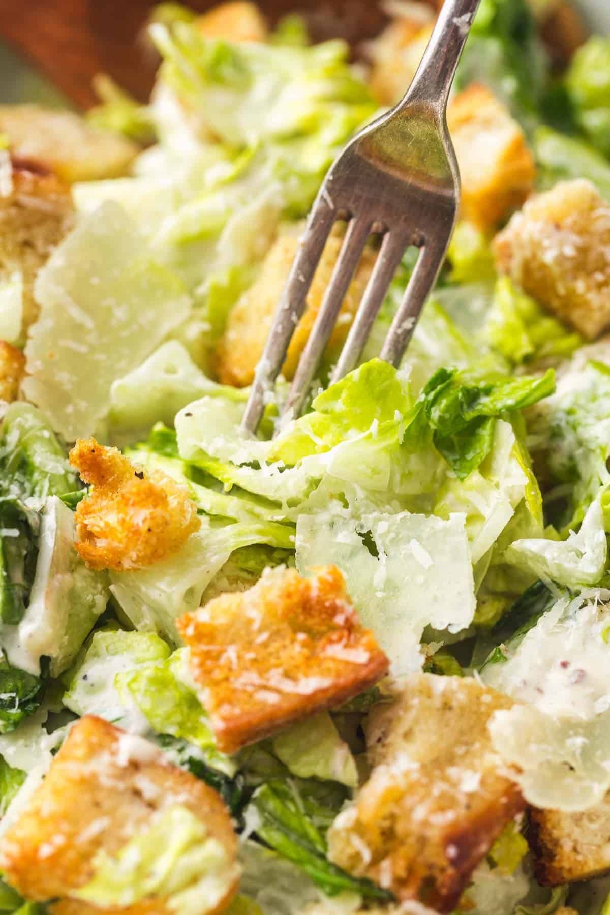 Eating Caesar salad with a fork