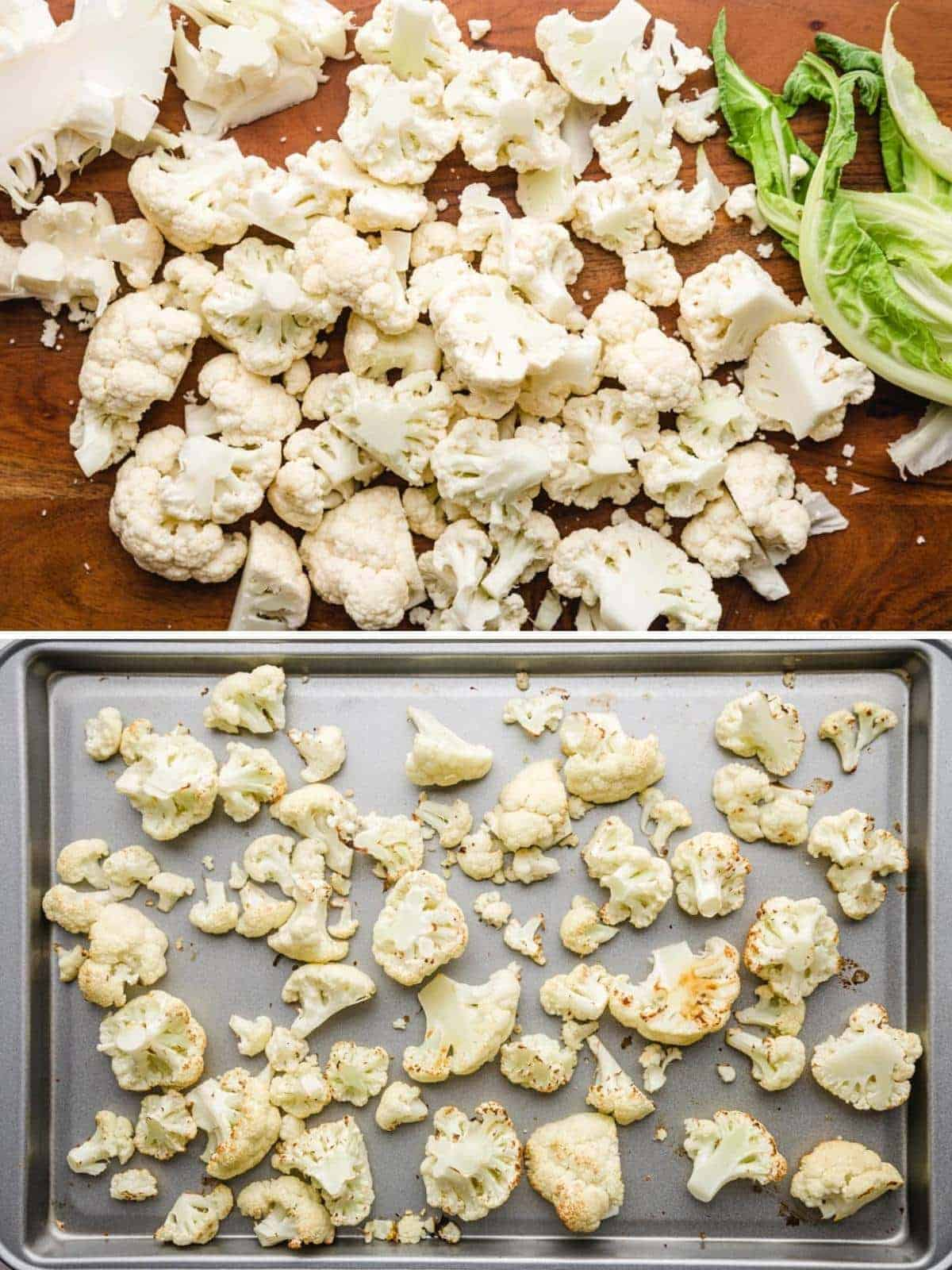 Prepping the cauliflower - steps