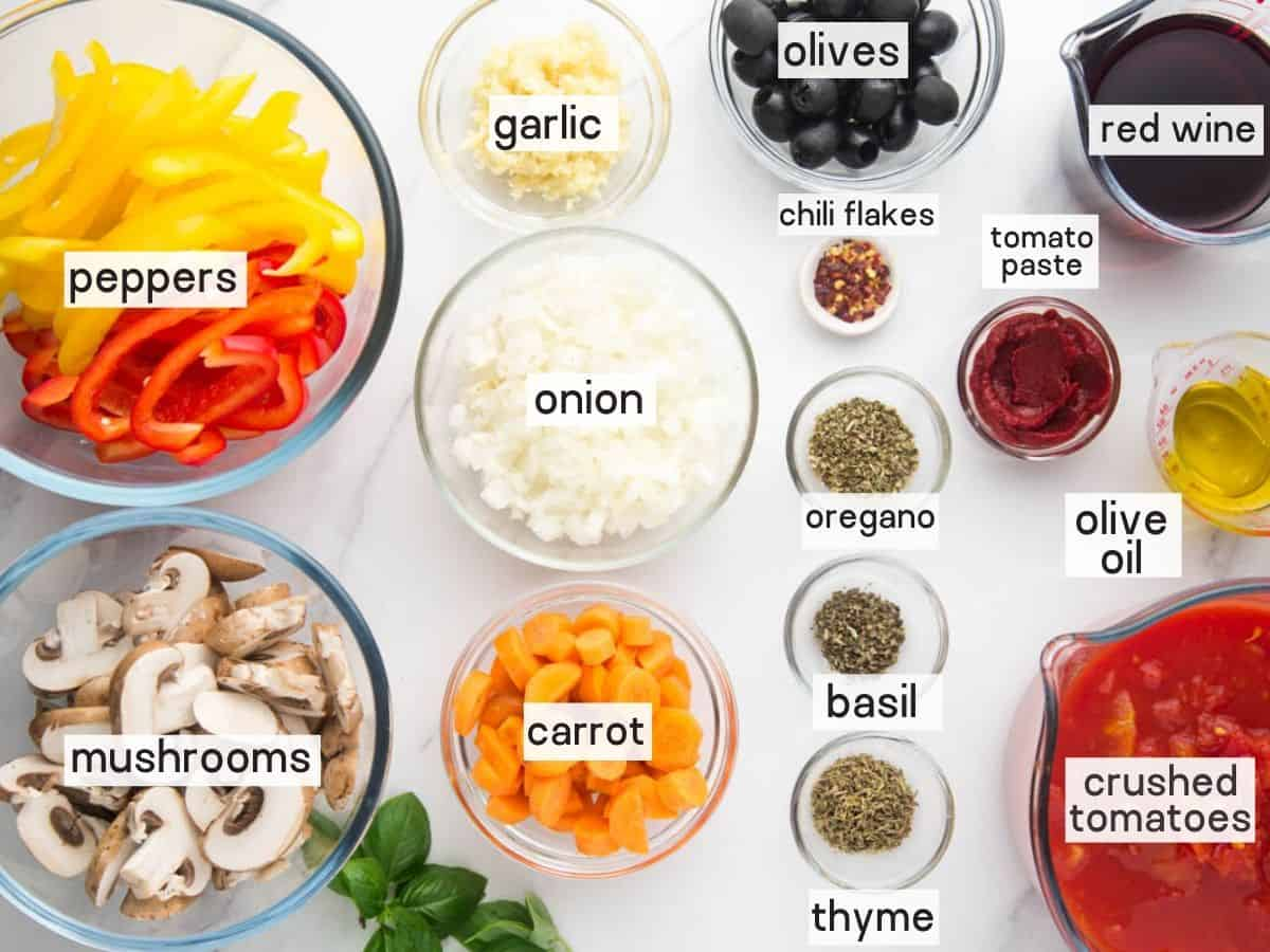 Ingredients needed to make chicken carriatore