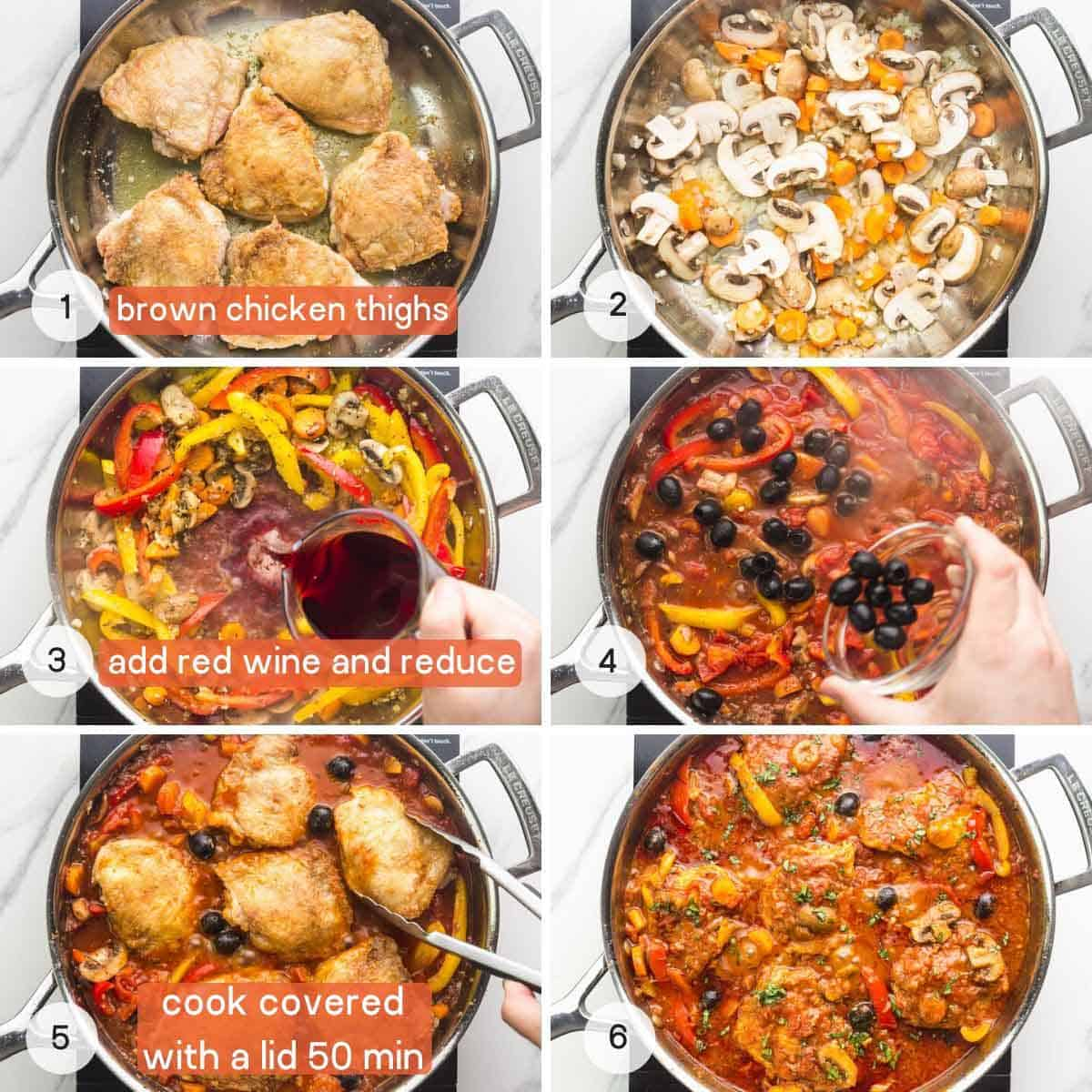 How to make chicken cacciatore step by step