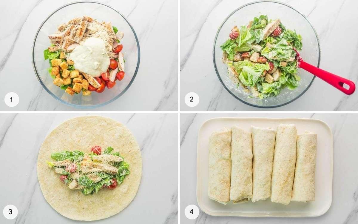 How to make Caesar chicken wraps