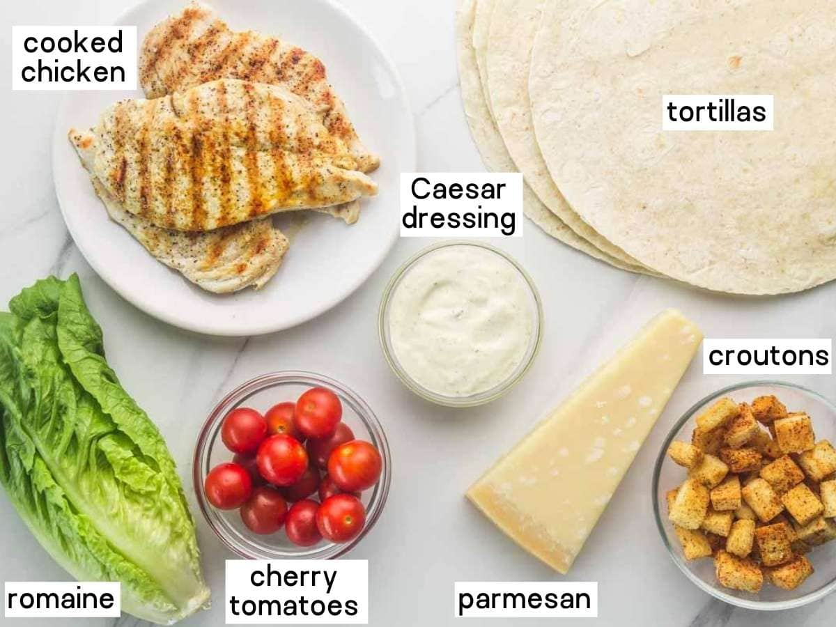 Here's what you'll need to make chicken caesar wraps