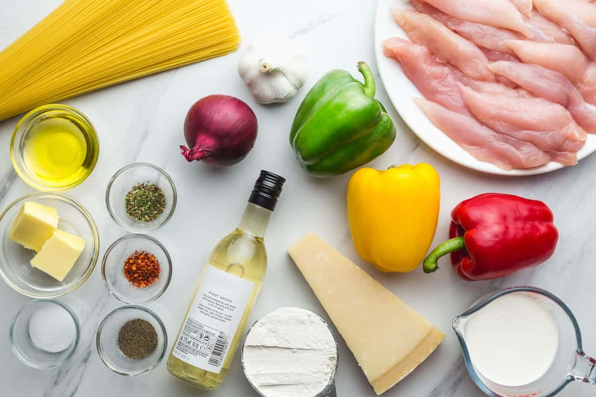 The ingredients needed to make chicken scampi