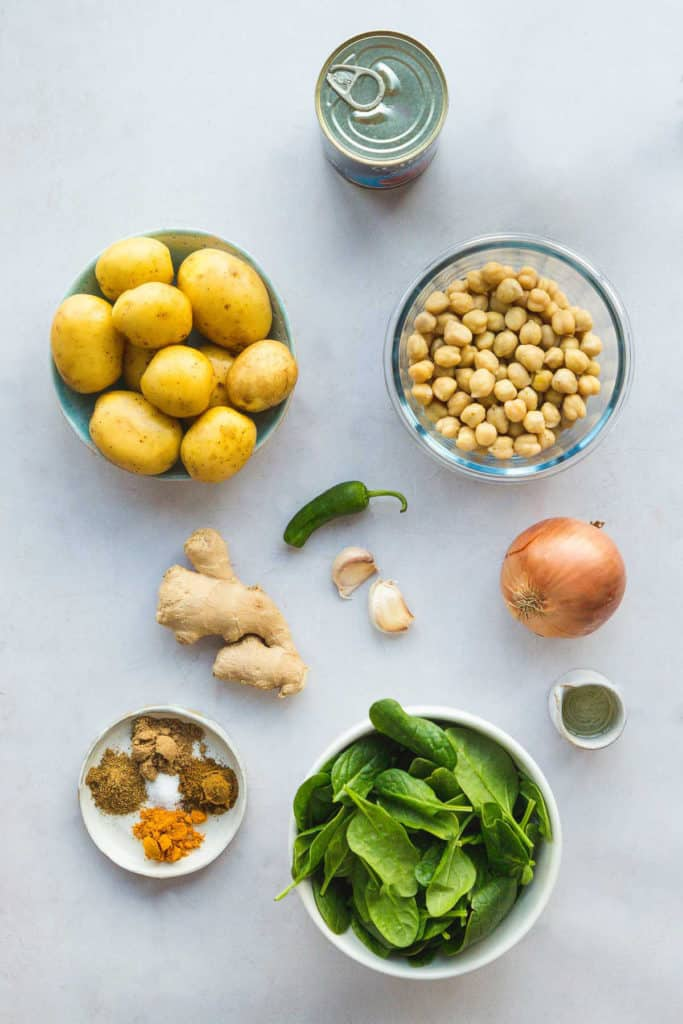 Chickpea and potato curry ingredients