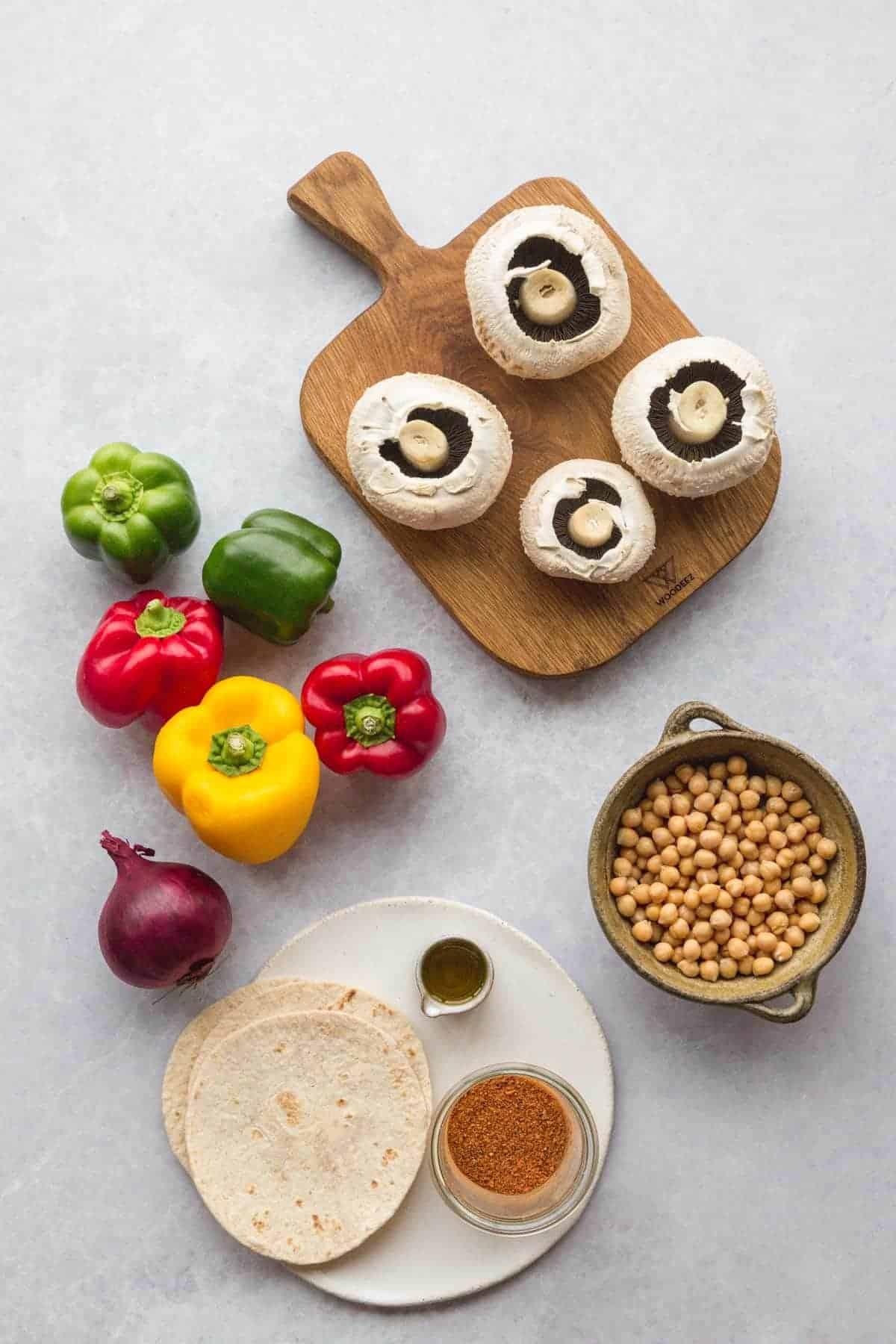 Chickpea and mushroom fajitas ingredients