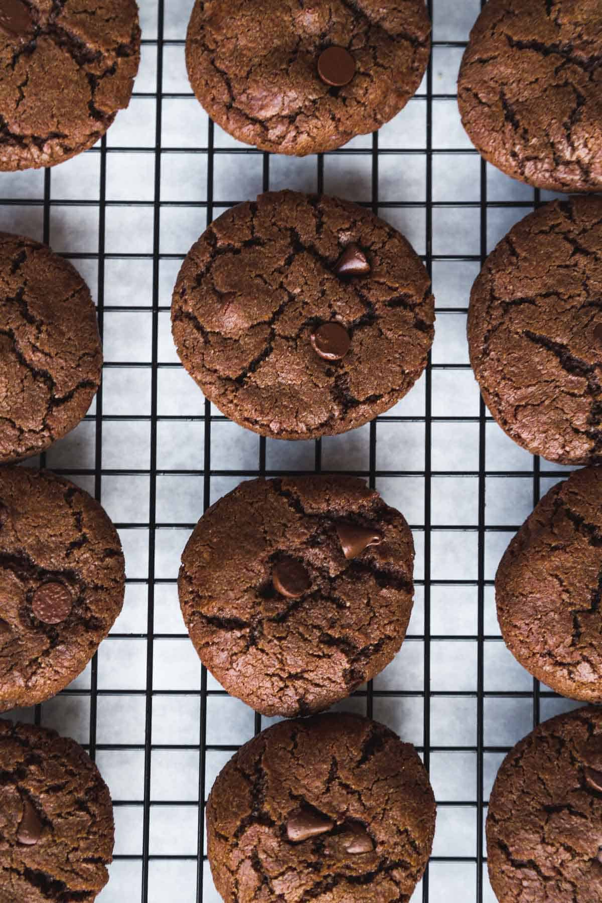 Double chocolate chip cookies with peppermint extract on a cooling rack