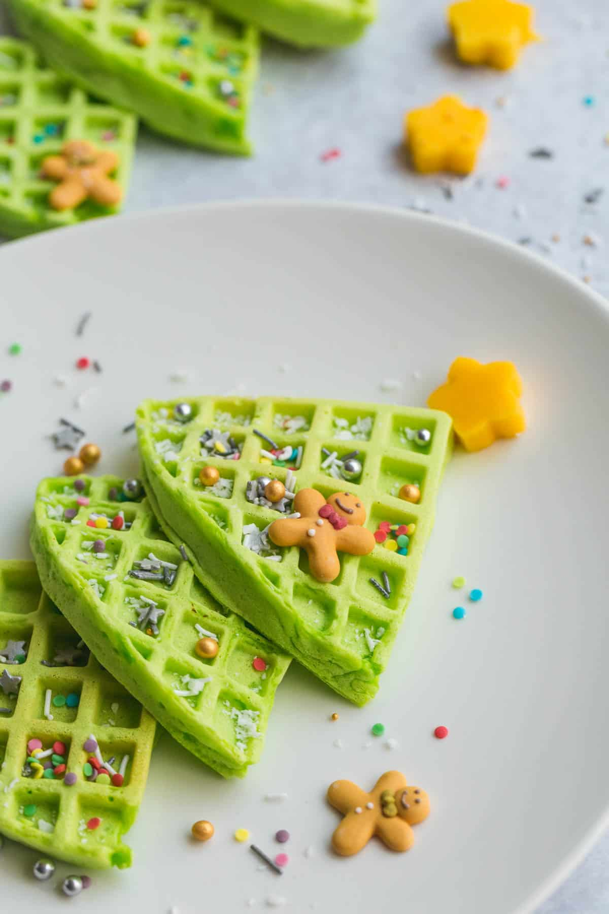 A close up image of the green Christmas tree waffle