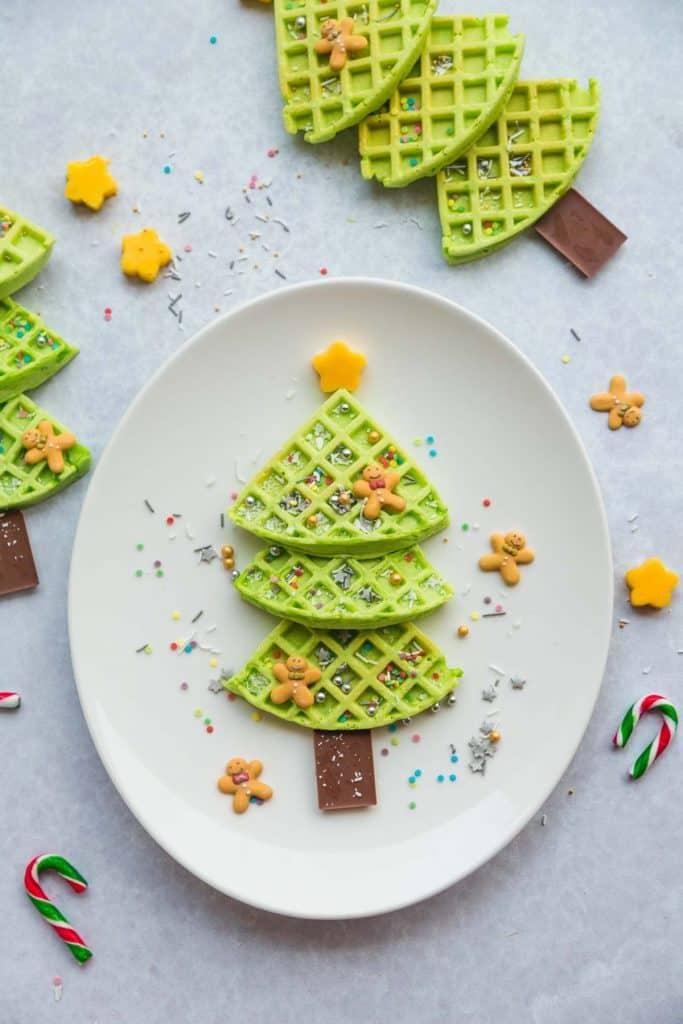 Christmas Tree Waffle arranged on an oval white plate