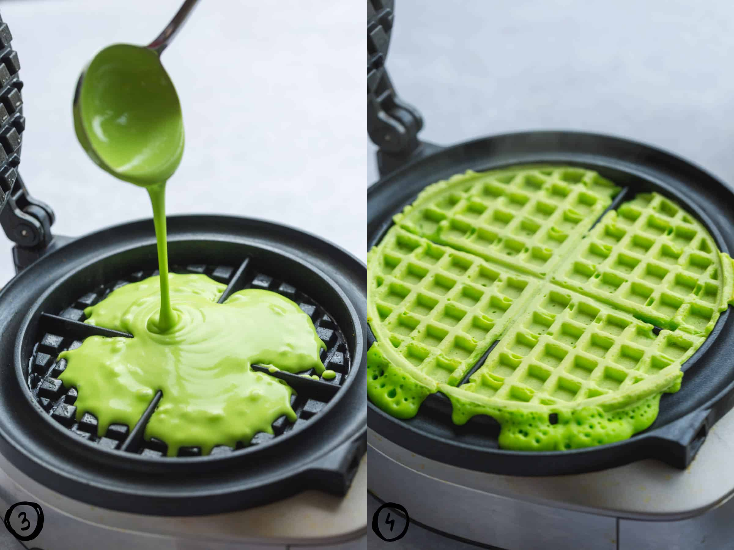 Steps how to make the green christmas tree waffles in a waffle maker