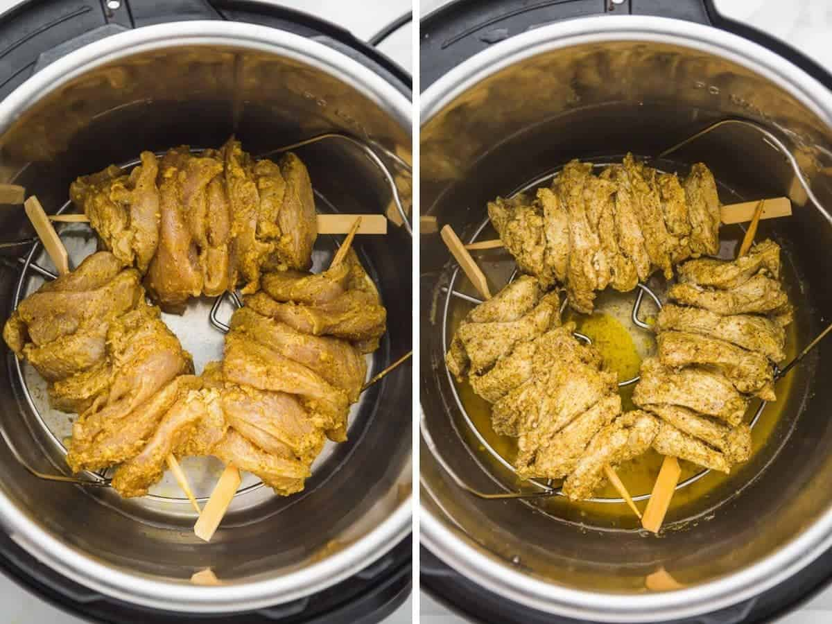 Pressure cooking chicken shawarma skewers in the Instant Pot