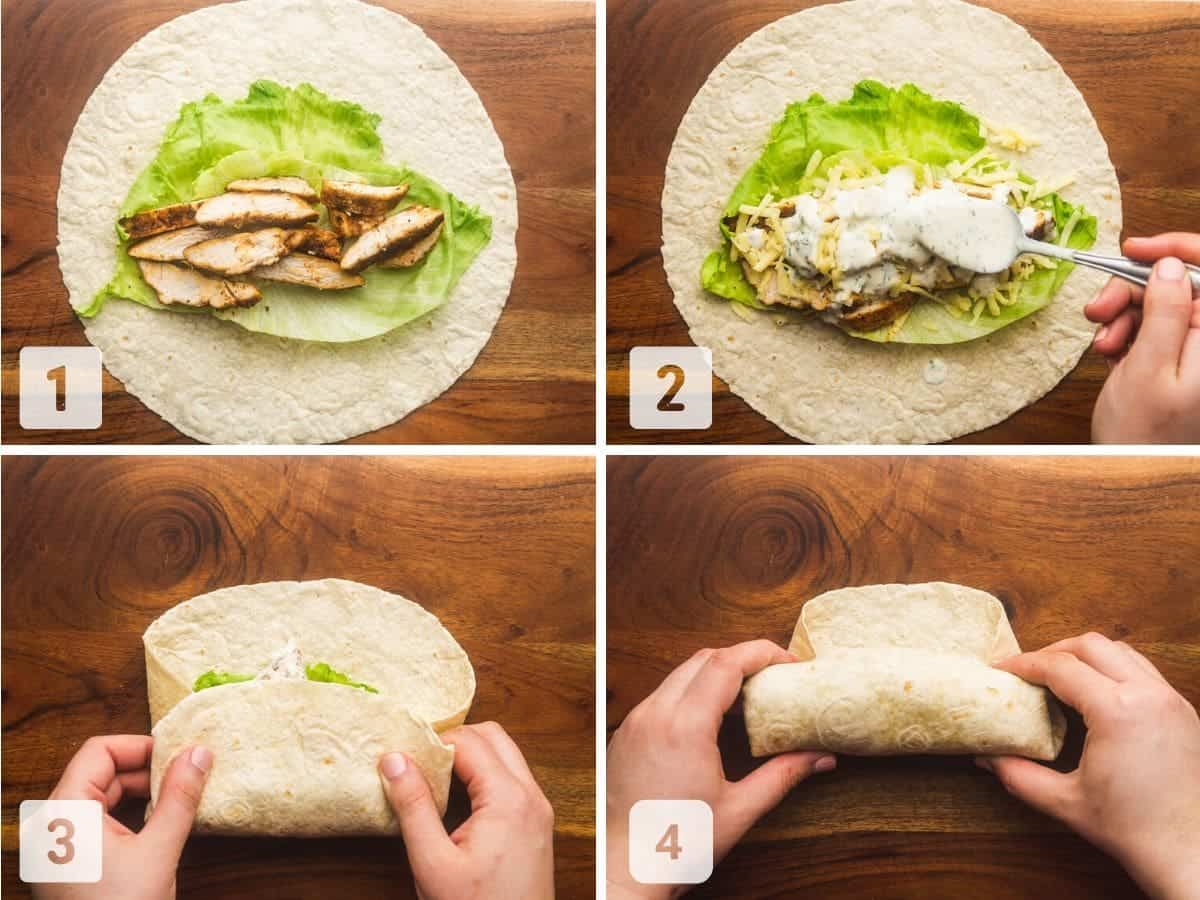 Assembling a grilled chicken wrap, and how to wrap it like a burrito