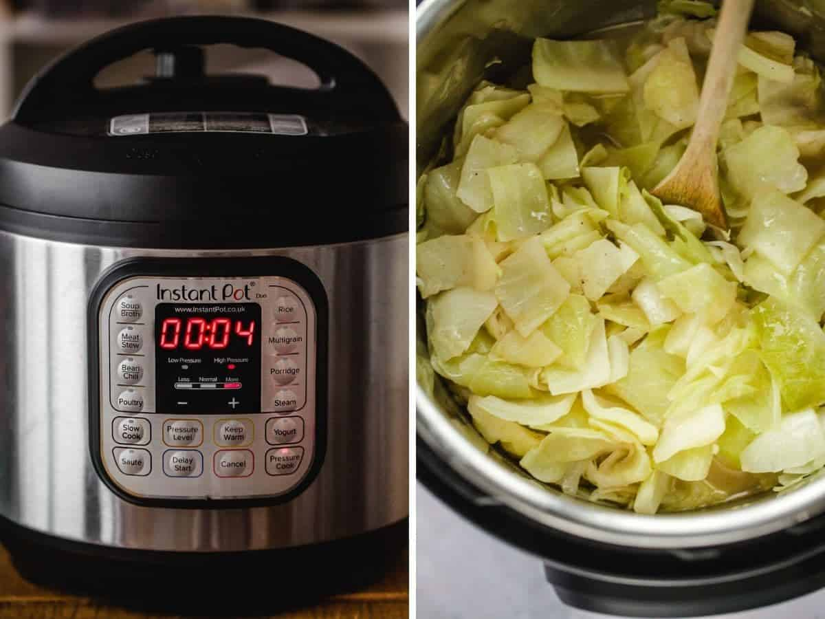 2 images on how to make buttered cabbage in the Instant Pot