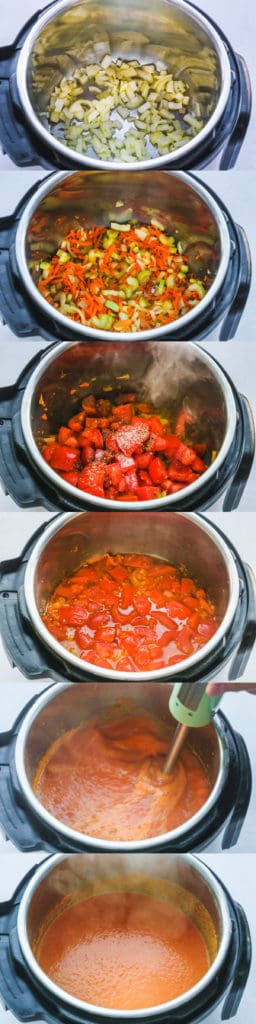 Steps how to make Instant Pot tomato bisque