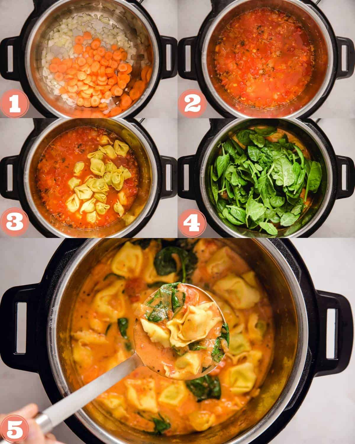 Steps on how to make tortellini soup in the instant pot