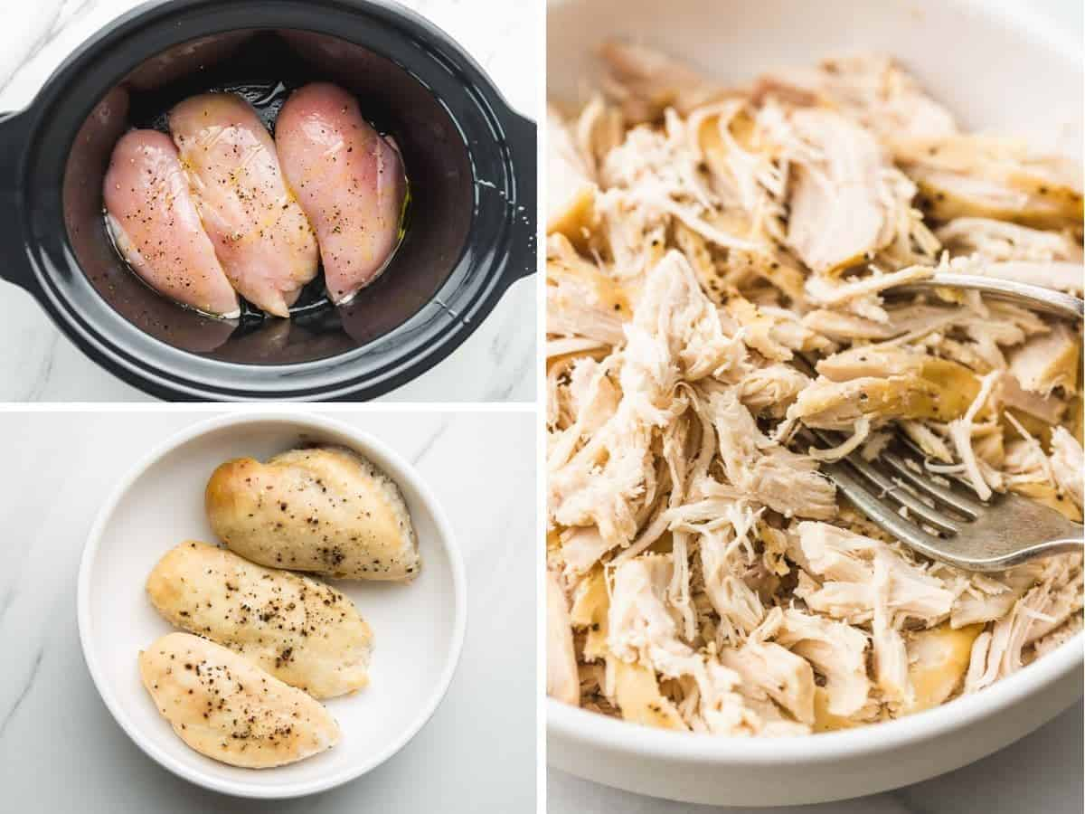 A collage with 3 images on how to make slow cooker shredded chicken