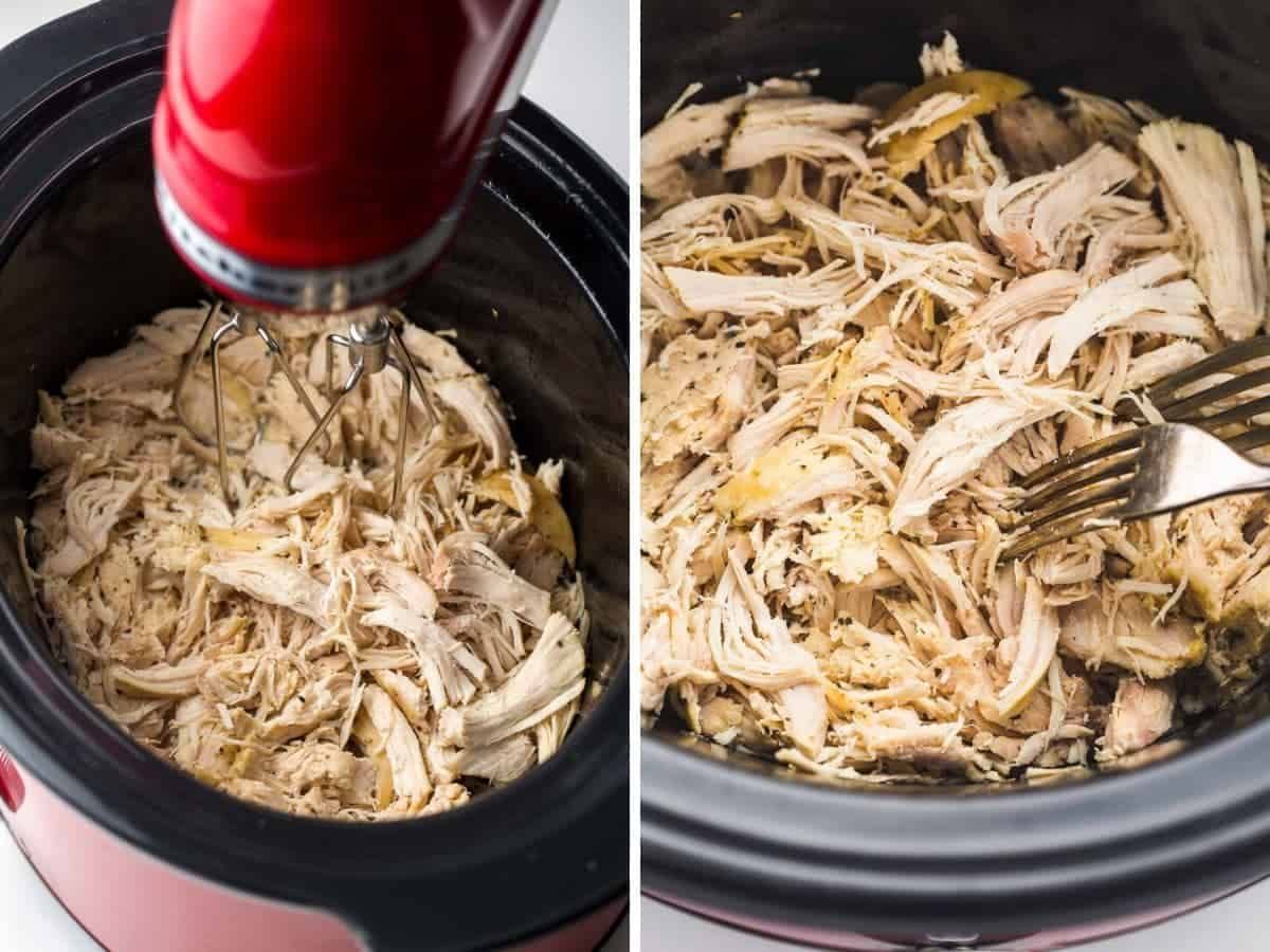 2 images on how to shred cooked chicken: using forks, or a hand mixer.