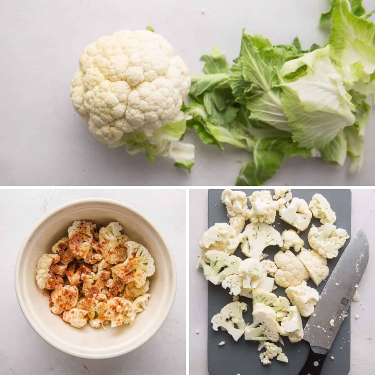 How to cut cauliflower in 3 pictures.