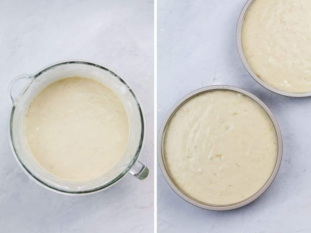 How to make the batter and pour it into cake pans