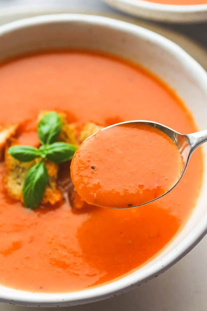 A spoonful of tomato soup