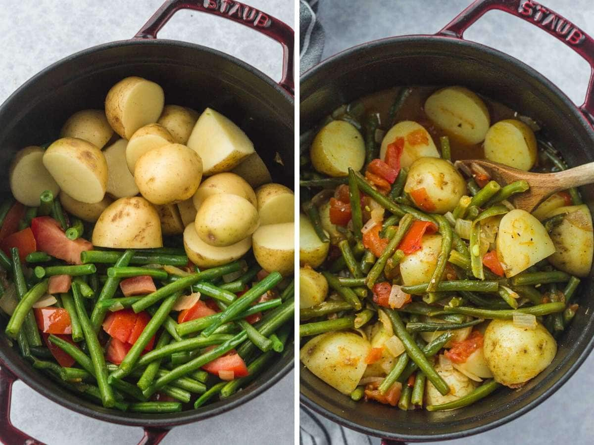 Before cooking fasolakia, and after. In a Staub Cast Iron Pot.