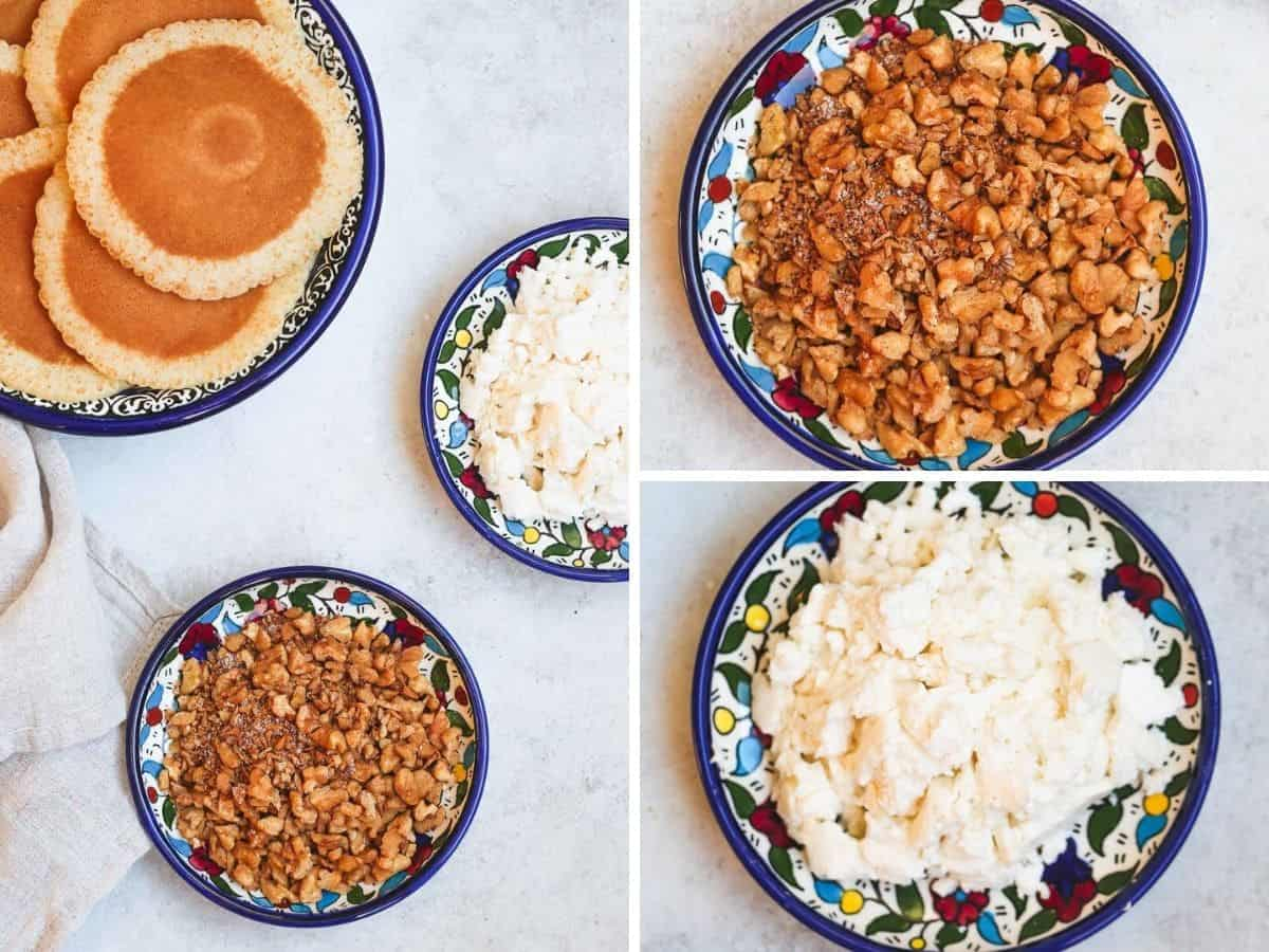 Filling suggestions in oriental dishes, cinnamon walnut and white cheese.