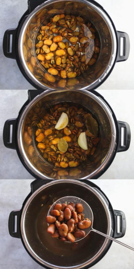 collage with 3 steps on how to cook broad beans in the instant pot
