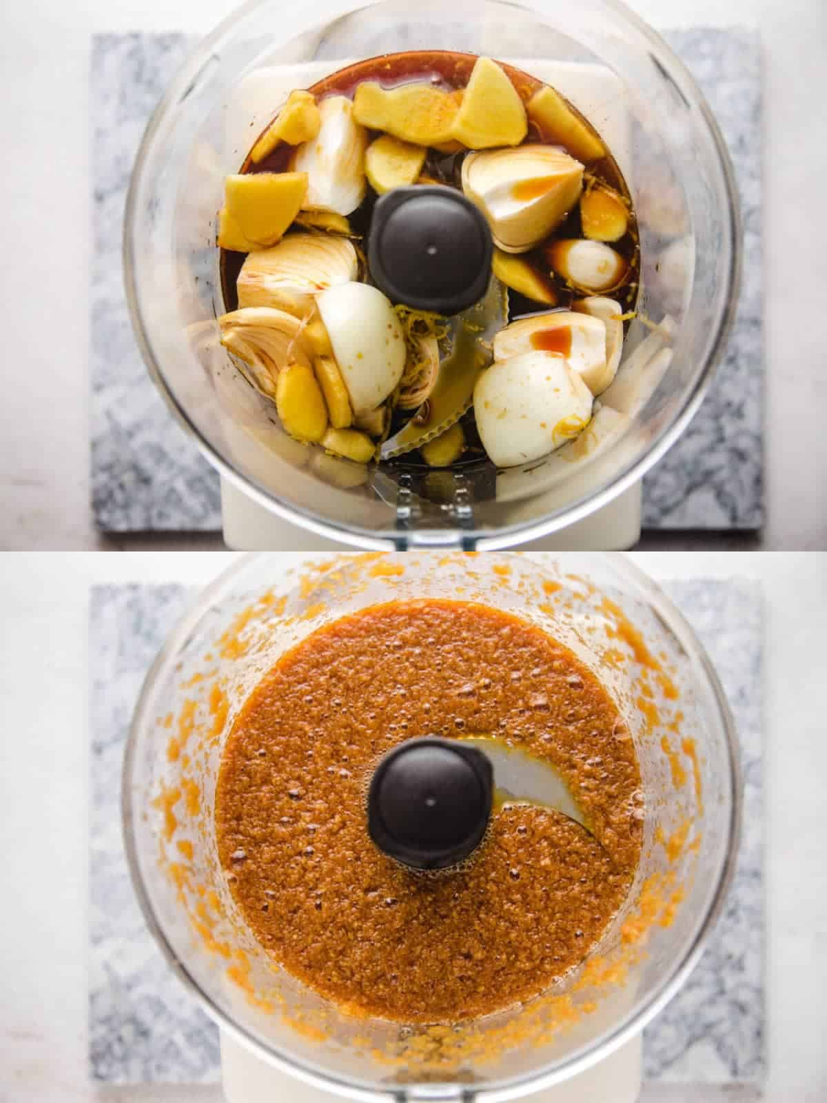 2 steps images, adding the ingredients to a food processor