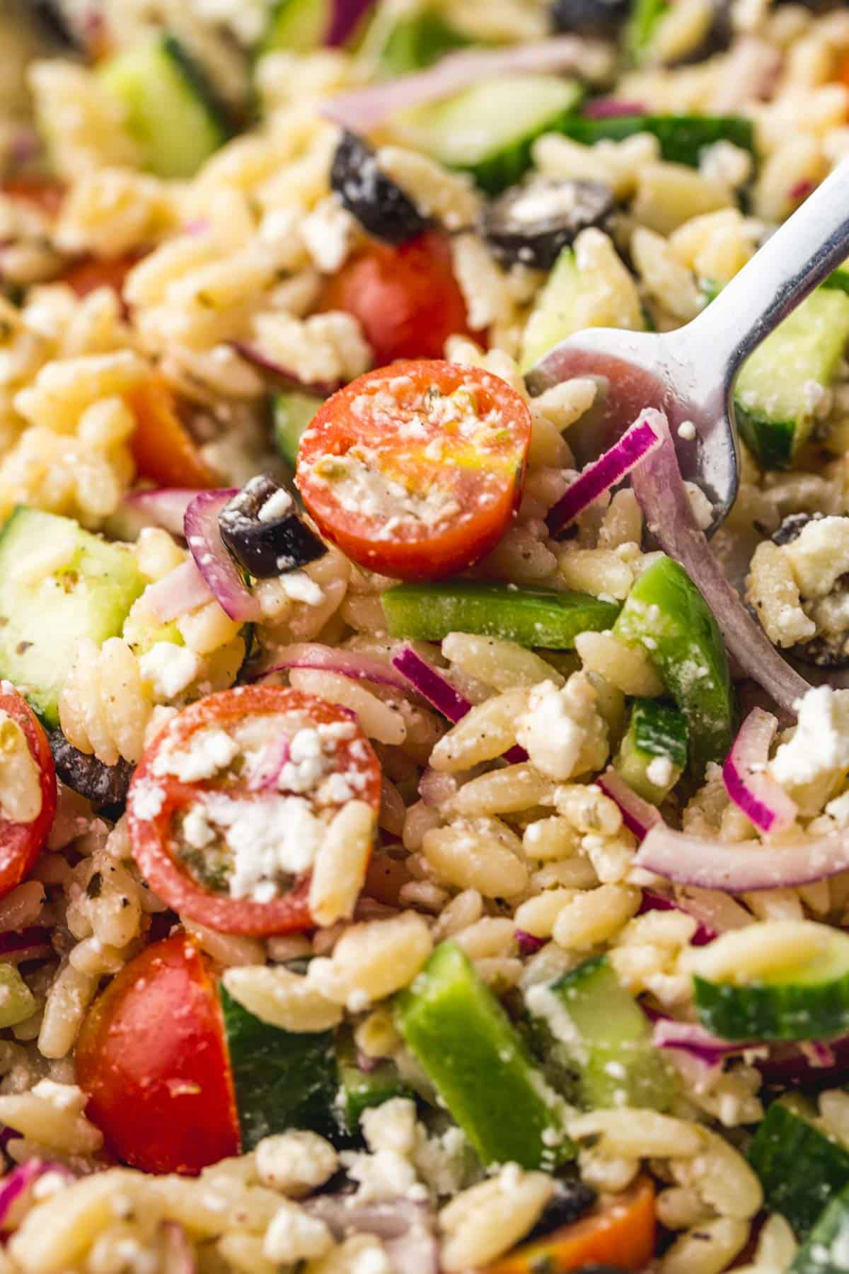 Close up shot of Greek Orzo Salad, and a fork