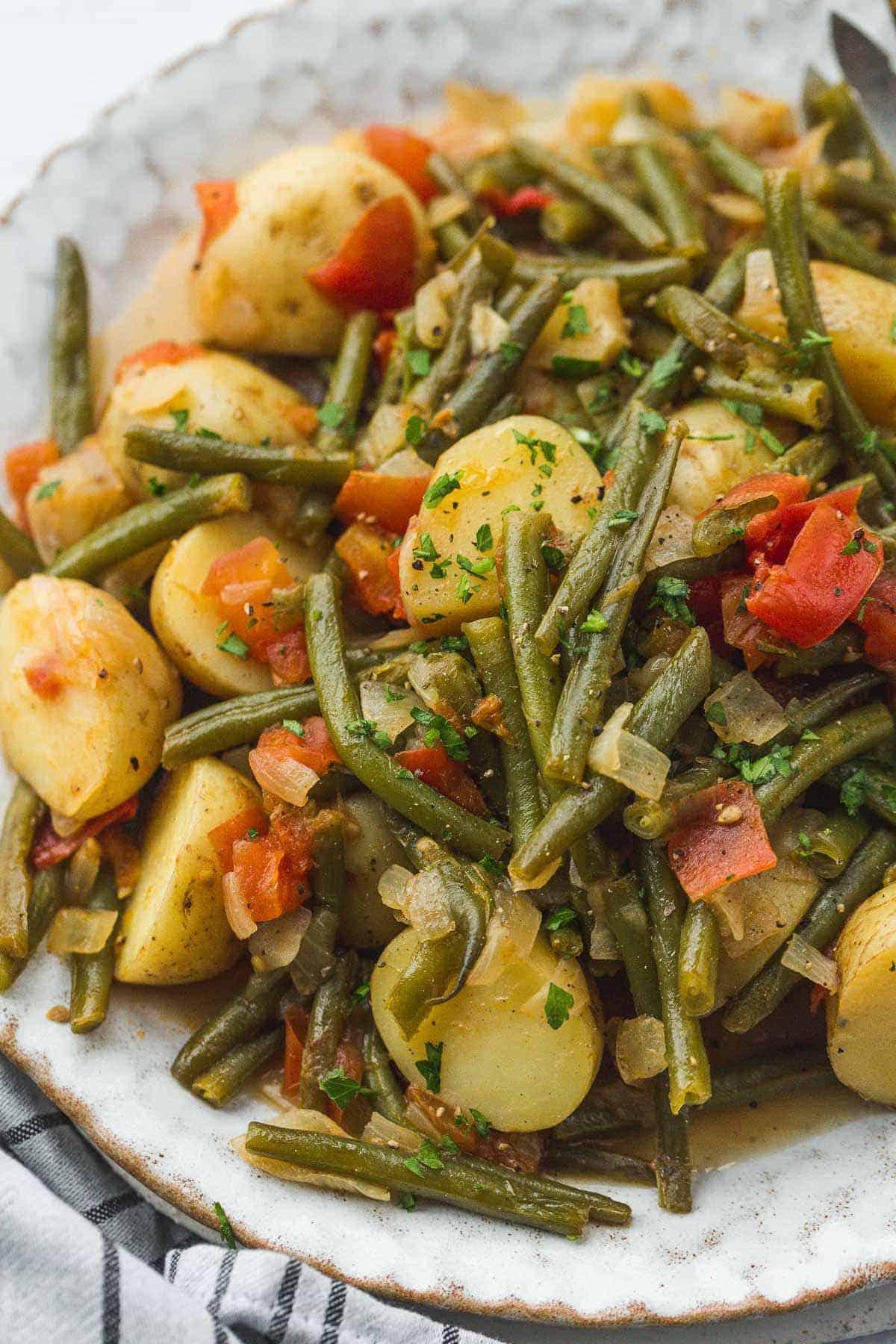 A close up shot of fasolakia dish