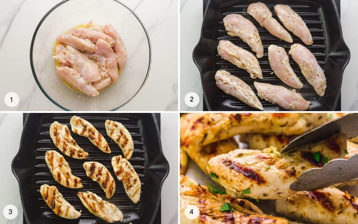 Step by step how to make grilled chicken tenders