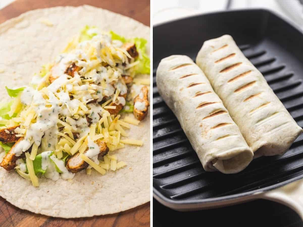 Assembling and grilling a grilled chicken wrap