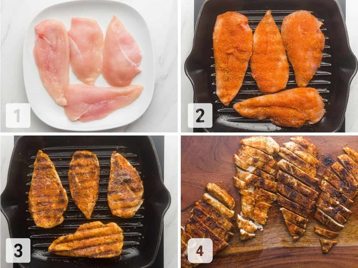 Steps on how to grill chicken cutlets on a grill pan