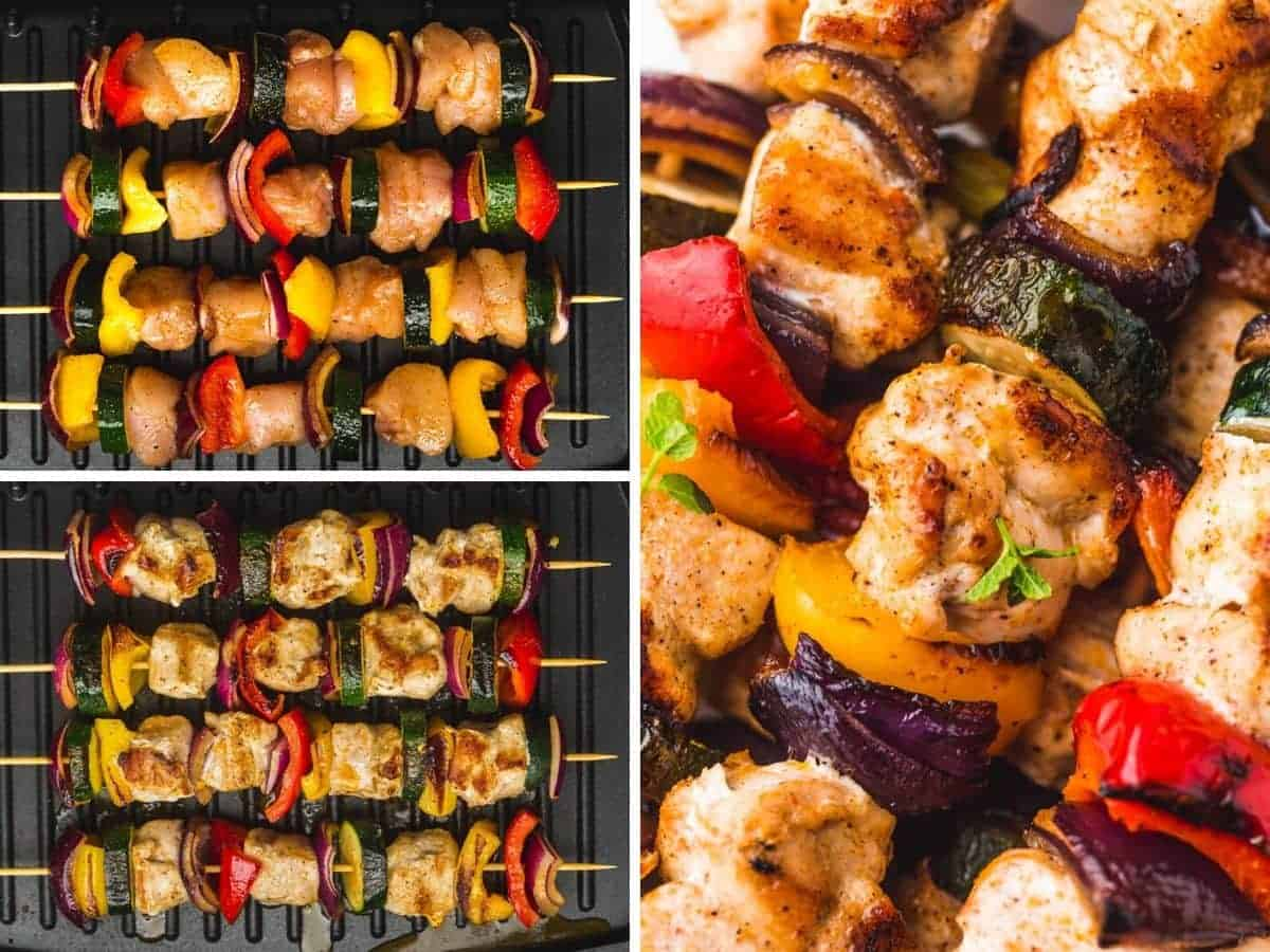 A collage with 3 images on how to grill chicken and vegetable kabobs