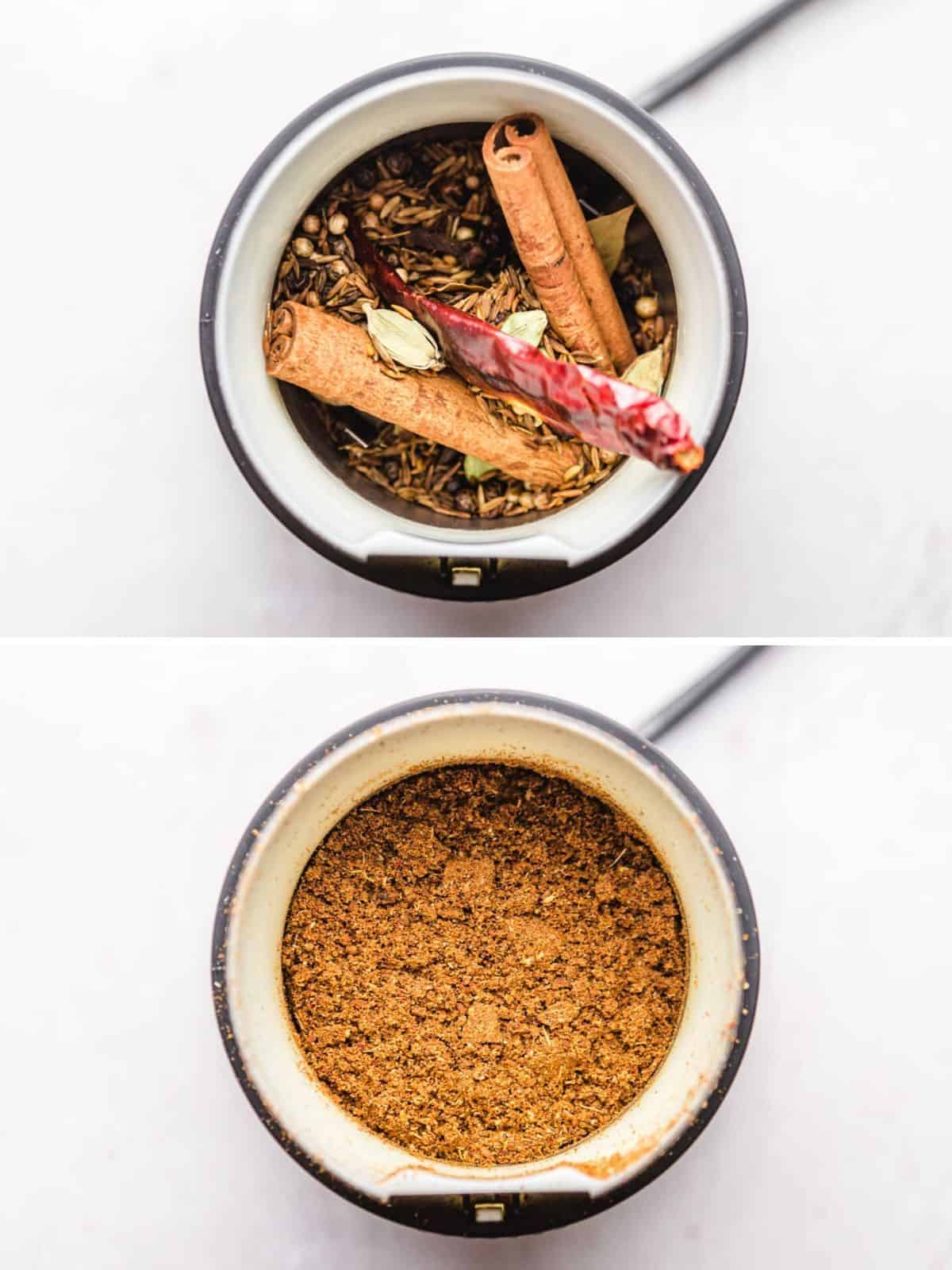 Grinding the whole spices in a small coffee grinder