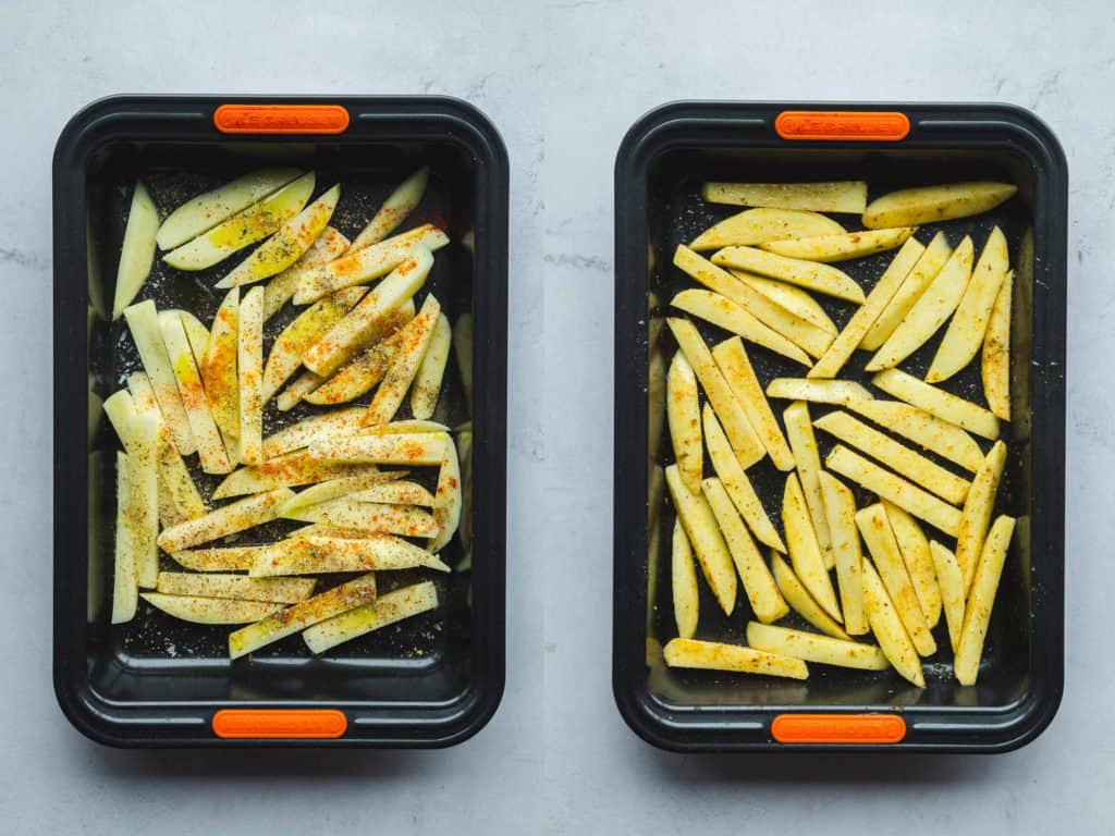 How to make chips, 2 trays with uncooked potatoes